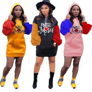Womens Casual Dress Hooded Long Sleeve Contrast Embroidery Puff Sleeve Sweater Dresses Fall Ladies New Fashion Skirt