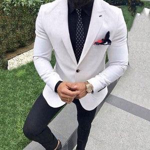 White Wedding Suits Men Large Reached A Summit Lapel Groom Tuxedos Tailored Suit Male Men's Classic Suits with Pants Ternos 2 pc