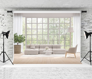 Ventana de primavera Ladnscapes telón de fondo moderno sala de estar de madera decoración de fondo jardín natural vista fotografía fotografías para foto