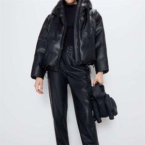Faux Leather Coat Winter Hooded Jacket Women Zipper Thicker Warm Parkas Outwear Female Casual Solid Short Winter Coat 201110