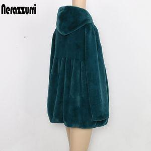 Nerazzurri 가을 Pleated Furry 가짜 모피 코트 여성용 후드 하이 허리 블랙 레드 핑크 플러스 크기 따뜻한 솜털 재킷 5XL 6XL 7XL 20111