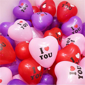100pcs bag Heart Shape Balloon 12 Inch Valentines Day Decorative Balloon for Wedding Party I LOVE YOU Letters Balloons Supplies New E122310