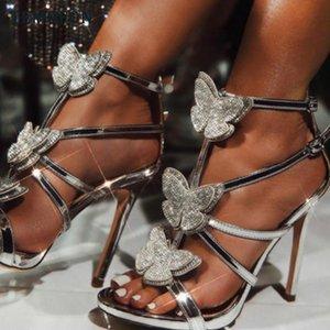 Bombas atractivas mujeres TEMOFON zapatos de tacones altos de punta abierta sandalias de gladiador zapatos de tacón Rhinestone de las mujeres señoras del verano de los zapatos de boda HVT1093
