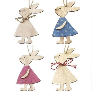 Easter Wooden Pendants Decorations Pendant DIY Carved Wooden Rabbit Hanging Pendants Ornaments Creative Wooden Craft Party Favors PPD4048-3