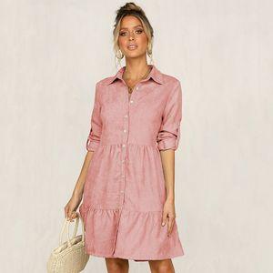 Autumn Winter Casual Single Breasted Solid Dress Women Turn Down Collar Straight Half Sleeve Shirt Dress New 201023