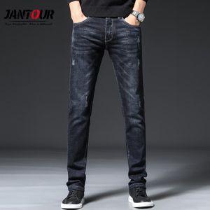 Jantour Jeans Men Skinny Jeans Winter 2020 Business Casual Slim Men Mid Straight Trousers Scratched Pocket Pants Size 38
