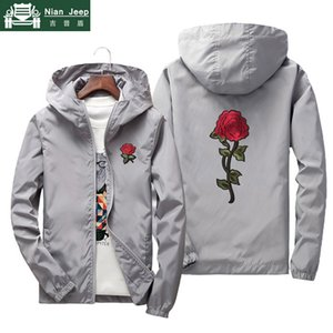 Windbreaker Men's Jacket Rose Embroidery Bomber Jacket Men Casual Hooded Sunscreen Quick Dry Mens Jackets Size 7XL Dropshipping