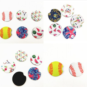 18style baseball softball design Neoprene Car Coasters Car Cup Holder Coasters for Car Cup Mugs Mat Contrast Home Decor Accessor 107 J2