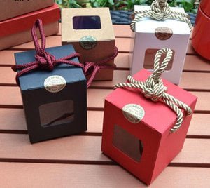 500pcs livre DHL envio / lote 7.5 * 7.5 * 9 centímetros caixa Janela kraft presente de papel chá jam caixa de açúcar mascavo caixa mel caixas de doces GWD2955