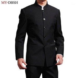 Mydbsh marke männer passen hochwertiger chinesischer stehkragen männlicher anzug schlank fit blazer hochzeit terno tukto 2 stück (jacke und pant1