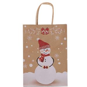 Papel Kraft Natal Embalagem Bag Feliz Natal Goodie Bags DIY presente do boneco de neve impresso portátil saco de papel com AHD2883 Handle
