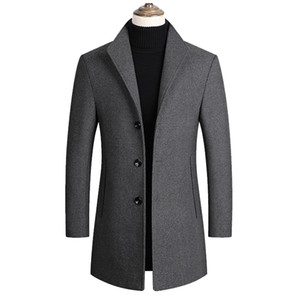 Brand Men Blends Coats Autumn Winter New Solid Color High Quality Men's Wool Jacket Clothing Drop Shipping