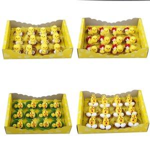 Simulación Pascua Polluelo Amarillo Mini Encantador Artificial Decoración para el hogar Decoración de juguetes Pollo de felpa Regalo de Pascua para niños 12pcs / set
