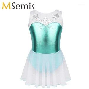 Girls Ballet Dance Wear Costume Senza maniche Senza maniche Schily Snowflake Metallic Bodice Gymnastics Gymnastics Leotard Ballerina Dress Bambini1