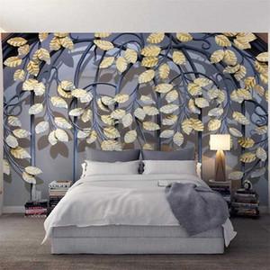 Diantu costume retrò Ferro Golden Leaf TV 3D Modern Wall personalizzato grande murale Verde Wallpaper Papel de Parede para quarto murale 0CU6 #
