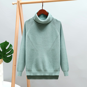 2021 New Thick Turtlneck Cowl Neck Women Streetwear Knitted Pullovers Top Autumn Winter Clothes Christmas Sweater Pull Kb6z