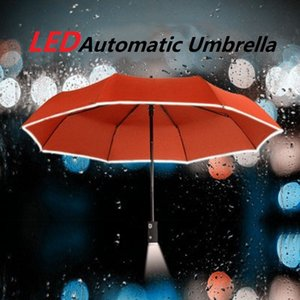 Automatic folding umbrella   124; portable 27cm model for outdoor use, windproof folding umbrella, flashlight, outdoor umbrella