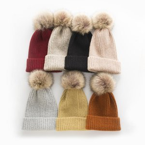 Autumn and Winter Warm Womens Knitted Hat Cashmere Blend Monochrome Pure Color All-Matching Big Hair Ball Pullover Hat