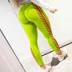 Femmes Softball Leggings Collants Spandex Pantalons Spandex Leggings Neon Softball Point Yoga Fitness Athlétique Pantalon Pantalon E122307