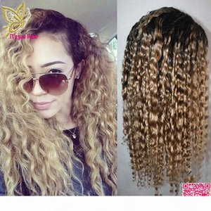 Honey Blonde Ombre Lace Front Human Hair Wigs Deep Wave Brazilian Glueless Human Hair U Part Wigs Ombre Two Tone #1BT27