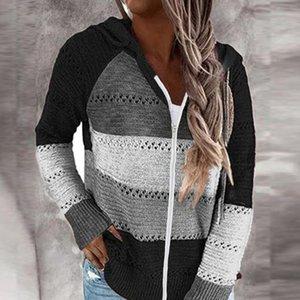 Maglioni da donna autunno donne casual con cappuccio pullover con cappuccio top manica lunga a maglia patchwork elegante pullover a strisce jersey muje
