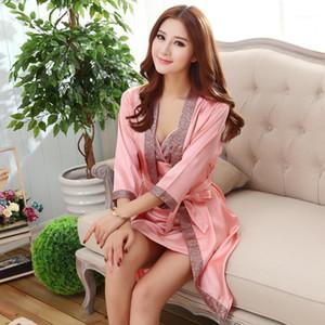Yaz Seksi 2 adet Gecelik Sleepshirts Bayan Robe Mini Kimono Küvet Elbise Faux İpek Pijama Rahat İpeksi Gecelik Kadın Dress1
