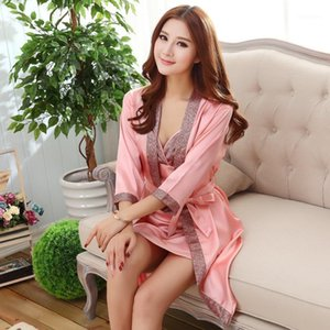 Verão sexy 2 pc nightgown sleepshirts mulheres robe mini quimono banho vestido de banho sleewear casual nightwear feminino vestido1
