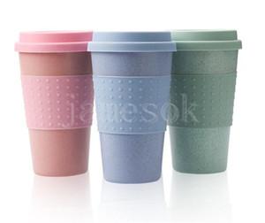 Silica Gel Coffee Cup Wheat Straw Fiber Mug With Lid Plastic Car Tumblers Portable Car Silicone Coffee Cups Water Bottle DB439