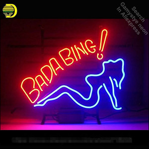 Bada Bing Fille au néon ampoule néon Sign Sign club Neon verre signe lumière Tube Artesanat lumière commerciale Iconic Couleur vive