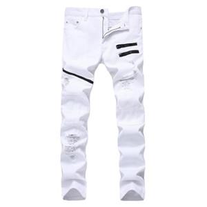 Männer Jeans Weiß Rot Loch Slim Skinny zerrissene Multiple Reißverschluss Dekoration Casual Hip Hop Männer Streetwear Denim Hose