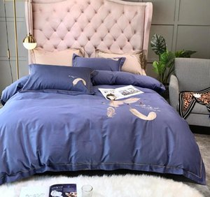 Autumn Winter 100% 60 long-staple Cotton Embroidered Bedding Sets Queen King Size Duvet Cover quilt Flat Fitted Sanding Thicken