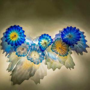 Decorazione della parete piastre Lampada da parete fatta a mano in vetro di Murano del riparo della parete astratta Fiore Glass Art Lampade Blu Colore Nordic Living Room Bagno