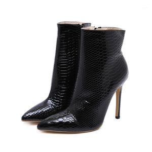 Lucyever Sexy Frauen-Patentleder Knöchelstiefel Herbst 2020 Spitz-Zehe dünne High Heels kurze Botas Stiletto Ferse Schuhe Frau1