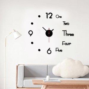 HOT Modern design rushed Quartz clocks fashion watches mirror sticker diy living room decor new arrival 3d real big wall clock
