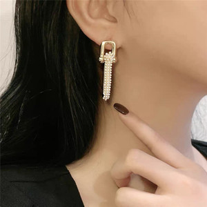 2020 New Baroque Pearl Stud Earrings for Women Vintage U Chain Earring Female Brincos Patchwork Earring Pendant Hiphop Jewelry