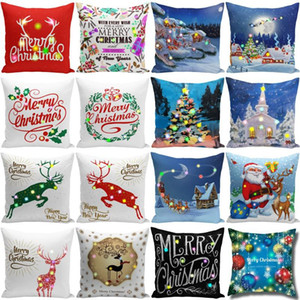 Christmas LED Pillow Case 45*45cm Plush Cover Home Sofa Decorative Throw Pillowcase Lighted Creative Pillow Cover GWA1841