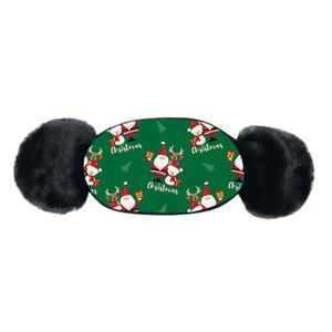 Natal Máscaras de impressão crianças Inverno Quente Plush Máscara Facial dos desenhos animados Facemask Baby Boy menina Boca-de mufla Earmuff Windproof Ear Warmer VENDA EWF2541