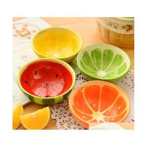 사랑스러운 과일 디자인 세라믹 그릇 컬러 아이스크림 그릇 푸딩 금형 용기 크리 에이 티브 주방 식기류 가정 용품 4pcs / lot btys