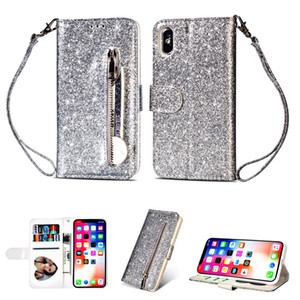 Fashion glittering sequins back zipper stand leather wallet case for iphone 12 11 pro max x xr xs max 6 7 8 plus