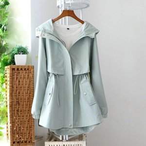 Trench Coats Spring Women's Mid-length Solid Color Hooded Slim Trench Coat Long-sleeved Loose Drawstring Waist Windbreaker Z5891