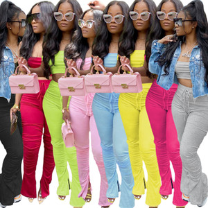2020 New Sexy Women 2 Piece Set Long Pants Outfits Breast Wrapping Clothing Suit Designer Casual Suit Sexy Shoulder Women's Trousers