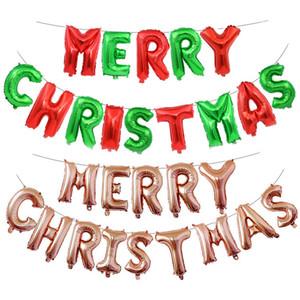 All'ingrosso 16 pollici Lettera Lettere Lettere Set Merry Christmas Alluminio Foil Balloons Balloons Buon anno Decorazioni per feste