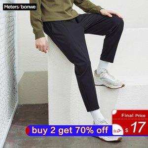 MetersBonwe Mourse Men Красивые спортивные брюки пружины Новые бегагирующие брюки мода вязание спортивные мужские черный бренд случайные брюки LJ201104