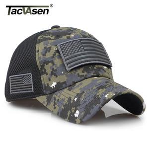 TACVASEN Taktik Kamuflaj Beyzbol Trucker Cap Şapka ABD Bayrağı Yamalar 201.019 ile inşa Erkekler Yaz Mesh Askeri Ordu Caps Caps