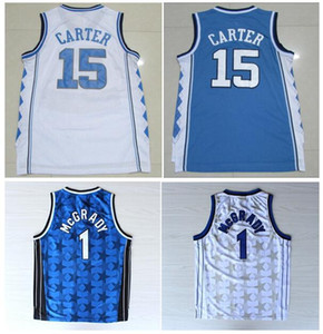 College Mens North Carolina Blue Vince15 # Carter ricamo Camicie sportive Top Qualità TRACY # 1 McGrady Jersey Black Penny 1 # Camicie difficili
