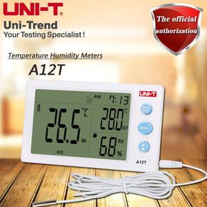 UNI-T A12T عريضة درجة الحرارة الرقمية الرطوبة ساعة وظيفة المنبه وظيفة اختبار درجة الحرارة في الهواء الطلق