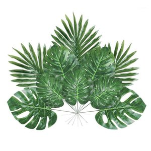 48 Pieces 4 Kinds Artificial Palm Leaves with Faux Stems Tropical Plant Leaves Monstera for Hawaiian Luau Party Ju1