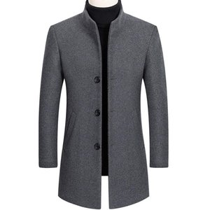 2020 Winter 30% Wool Men Thick Coats Slim Fit Stand Collar Male Fashion Wool Blend Outwear Jackets Smart Casual Trench