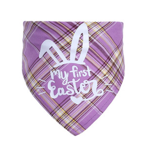 Easter bunny pet triangle scarf single layer cotton plaid saliva towel thin scarf for cats and dogs GWF4515