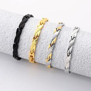 Ksra punk pulseras de acero inoxidable para hombres patrón de dragón oro pulseras de cadena gruesa brazaletes joyería masculina 2021 Nuevo